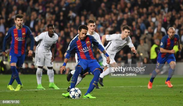 Neymar of Barcelona scores their fifth goal from a penalty during the UEFA Champions League Round of 16 second leg match between FC Barcelona and...