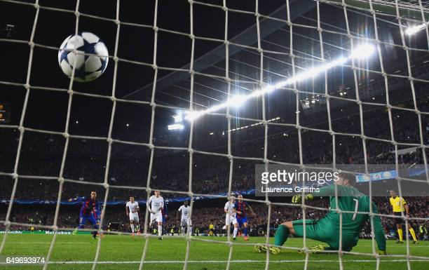 Neymar of Barcelona scores their fifth goal from a penalty past golakeeper Kevin Trapp of PSG during the UEFA Champions League Round of 16 second leg...