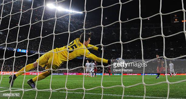 Neymar of Barcelona sees his penalty saved by Wojciech Szczesny of AS Roma leading to the sixth goal scored by Adriano of Barcelona during the UEFA...
