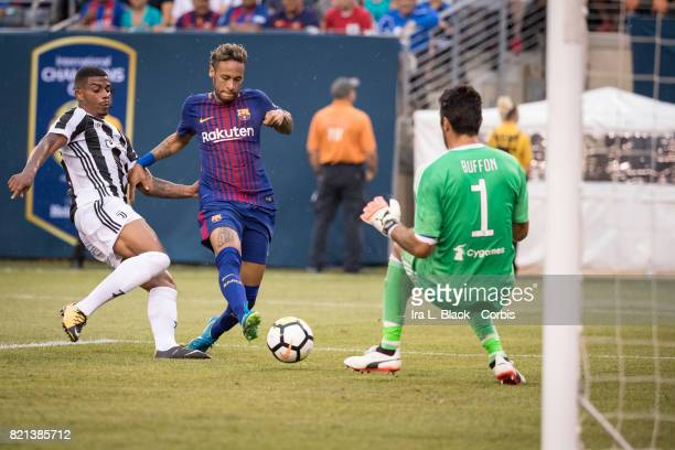 Neymar of Barcelona takes the shot on goal against Gianluigi Buffon of Juventus during the International Champions Cup match between FC Barcelona and...