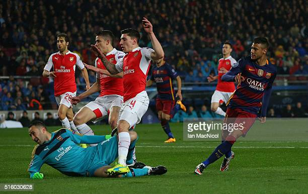 Neymar of Barcelona turns after he scores during the UEFA Champions League Round of 16 Second Leg match between FC Barcelona and Arsenal FC at Camp...