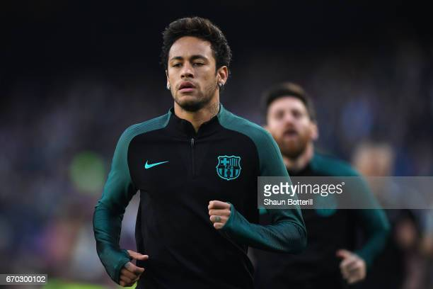 Neymar of Barcelona warms up prior to the UEFA Champions League Quarter Final second leg match between FC Barcelona and Juventus at Camp Nou on April...