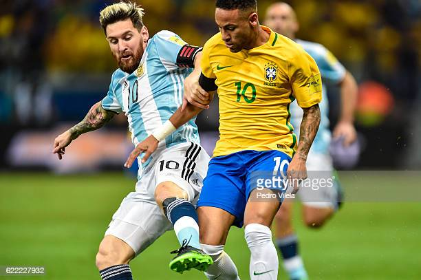 Neymar of Brazil and Messi of Argentina battle for the ball during a match between Brazil and Argentina as part 2018 FIFA World Cup Russia Qualifier...
