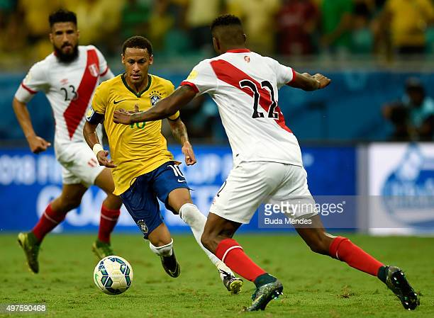 Neymar of Brazil battles for the ball with Carlos Ascues of Peru during a match between Brazil and Peru as part of 2018 FIFA World Cup Russia...