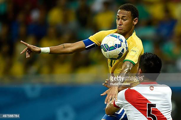 Neymar of Brazil battles for the ball with Carlos Zambrano of Peru during a match between Brazil and Peru as part of 2018 FIFA World Cup Russia...