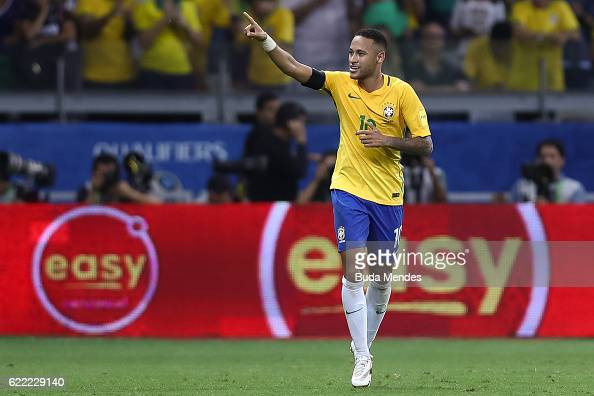Neymar of Brazil celebrates a scored goal against Argentina during a match between Brazil and Argentina as part of 2018 FIFA World Cup Russia...