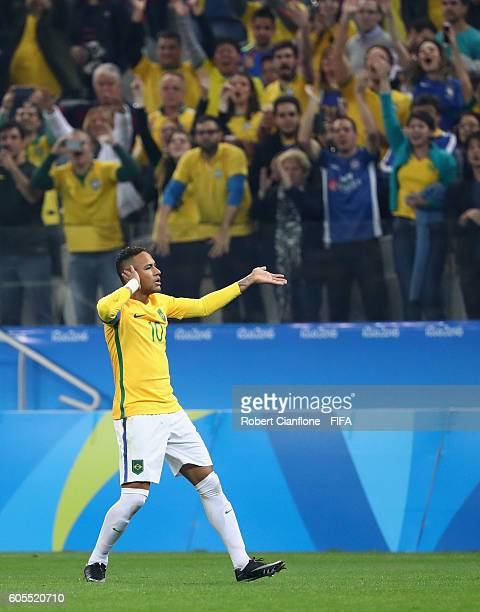 Neymar of Brazil celebrates after scoring a goal during the Men's Football Quarter Final match between Brazil and Colombia on Day 8 of the Rio 2016...