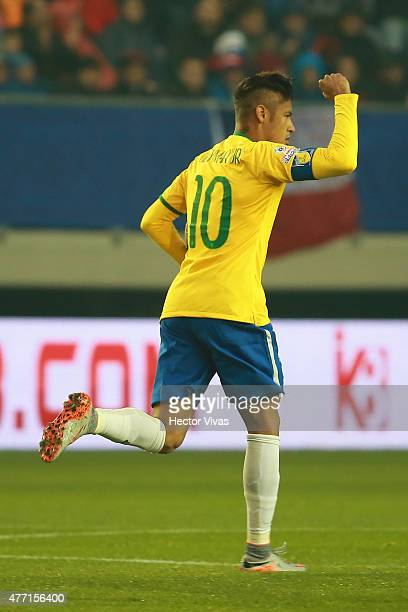 Neymar of Brazil celebrates after scoring the first goal of his team during the 2015 Copa America Chile Group C match between Brazil and Peru at...