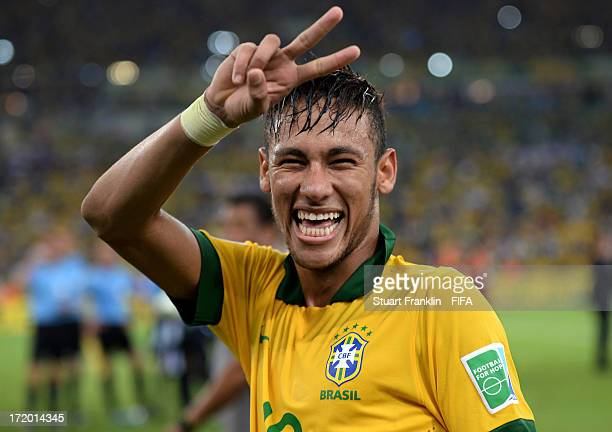 Neymar of Brazil celebrates at the end of the FIFA Confederations Cup Brazil 2013 Final match between Brazil and Spain at Maracana on June 30 2013 in...