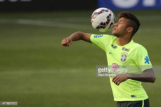 Neymar of Brazil controls the ball during a training session at Azul Azul training camp on June 19 2015 in Santiago Chile Brazil will face Venezuela...