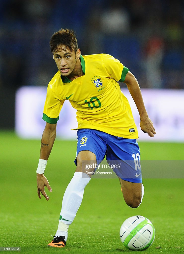Neymar of Brazil controls the ball during the international friendly match between Switzerland and Brazil at St. Jakob Stadium on August 14, 2013 in Basel, Switzerland.