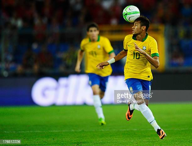 Neymar of Brazil controls the ball during the international friendly match between Switzerland and Brazil at St Jakob Stadium on August 14 2013 in...