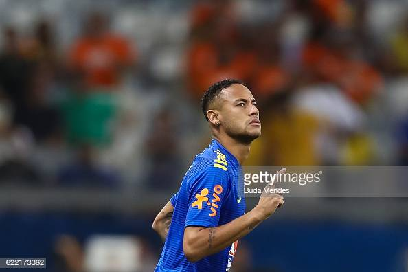 Neymar of Brazil enters to the field before a match between Brazil and Argentina as part of 2018 FIFA World Cup Russia Qualifier at Mineirao stadium...