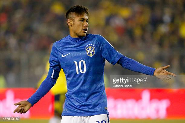 Neymar of Brazil gestures during the 2015 Copa America Chile Group C match between Brazil and Colombia at Monumental David Arellano Stadium on June...