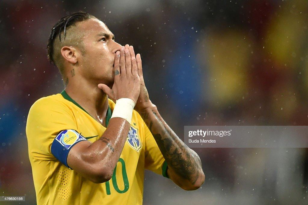 Neymar of Brazil gestures during the International Friendly Match between Brazil and Honduras at Beira Rio Stadium on June 10 2015 in Porto Alegre...