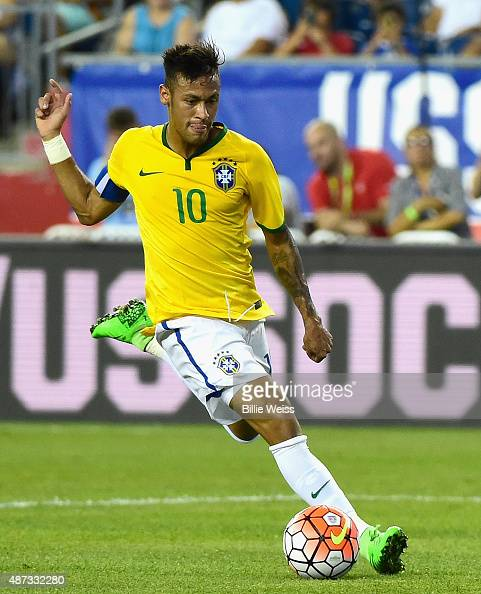 Neymar of Brazil handles the ball during an international friendly against the United States at Gillette Stadium on September 8 2015 in Foxboro...