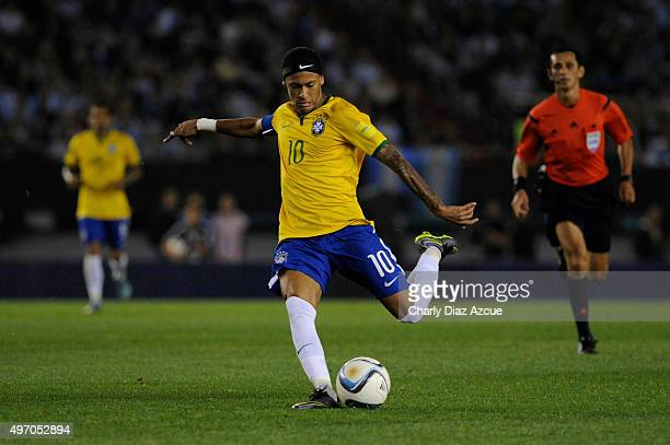 Neymar of Brazil in action during a match between Argentina and Brazil as part of FIFA 2018 World Cup Qualifiers at Monumental Antonio Vespucio...
