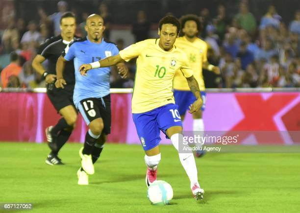 Neymar of Brazil in action during FIFA 2018 World Cup Qualifiers match between Uruguay and Brazil at Centenario Stadium on March 23 2017 in...