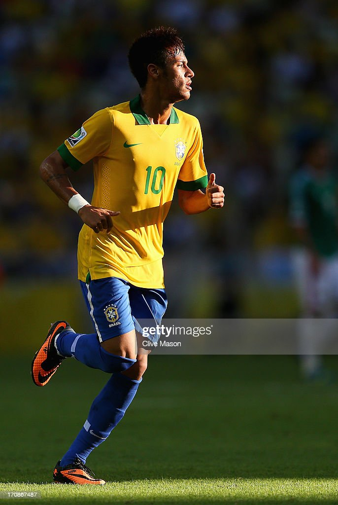 Neymar of Brazil in action during the FIFA Confederations Cup Brazil 2013 Group A match between Brazil and Mexico at Castelao on June 19, 2013 in Fortaleza, Brazil.