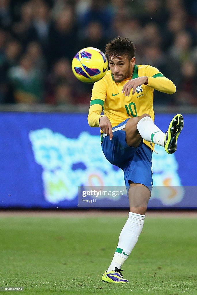 Neymar of Brazil in action during the international friendly match between Brazil and Zambia at Beijing National Stadium on October 15, 2013 in Beijing, China.