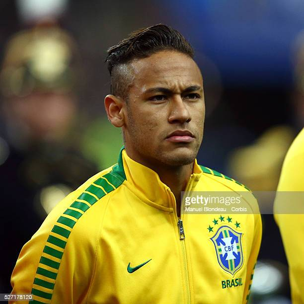 Neymar of Brazil is pictured during the line up prior to the international friendly football match between France and Brazil at the Stade de France...