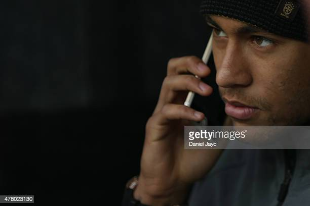 Neymar of Brazil is seen at the tunnel prior the 2015 Copa America Chile Group C match between Brazil and Venezuela at Monumental David Arellano...