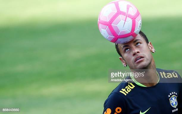 Neymar of Brazil is seen during a training session ahead of the FIFA 2018 World Cup Qualifying Round football match between Brazil and Chile in Sao...