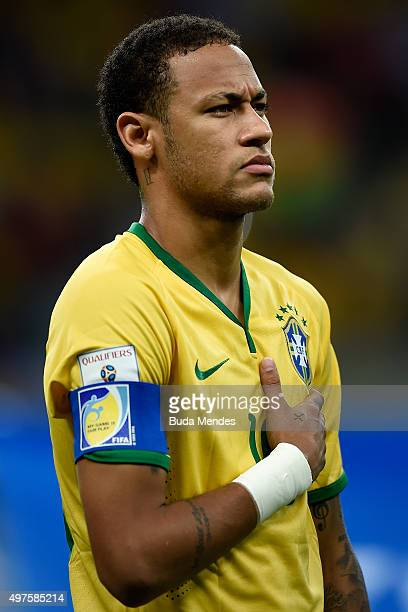 Neymar of Brazil looks on before a match between Brazil and Peru as part of 2018 FIFA World Cup Russia Qualifiers at Arena Fonte Nova on November 17...