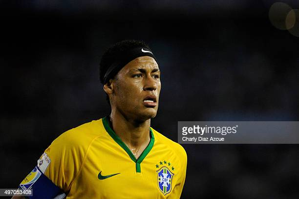 Neymar of Brazil looks on during a match between Argentina and Brazil as part of FIFA 2018 World Cup Qualifiers at Monumental Antonio Vespucio...