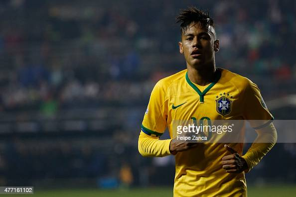 Neymar of Brazil looks on during the 2015 Copa America Chile Group C match between Brazil and Peru at Municipal Bicentenario Germán Becker Stadium on...