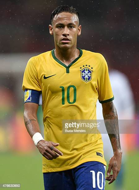 Neymar of Brazil looks on during the International Friendly Match between Brazil and Honduras at Beira Rio Stadium on June 10 2015 in Porto Alegre...