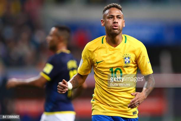 Neymar of Brazil reacts during a match between Brazil and Ecuador as part of 2018 FIFA World Cup Russia Qualifier at Arena do Gremio on August 31...