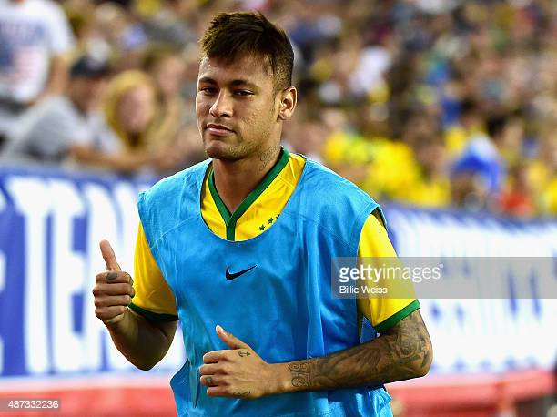 Neymar of Brazil reacts during an international friendly against the United States at Gillette Stadium on September 8 2015 in Foxboro Massachusetts