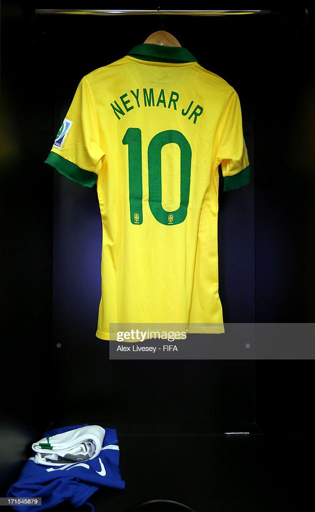 Neymar of Brazil 's shirt and kit hangs in the team dressing room prior to the FIFA Confederations Cup Brazil 2013 Semi Final match between Brazil and Uruguay at Governador Magalhaes Pinto Estadio Mineirao on June 26, 2013 in Belo Horizonte, Brazil.