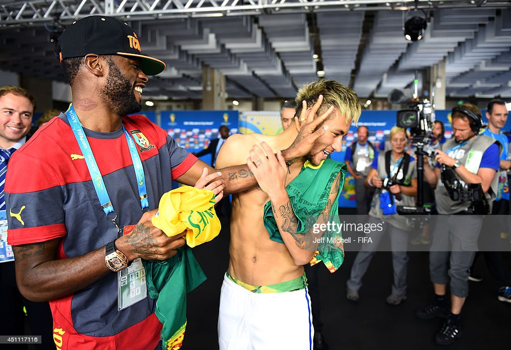 Neymar of Brazil speaks to Alexandre Song of Cameroon in the tunnel after the 2014 FIFA World Cup Brazil Group A match between Cameroon and Brazil at Estadio Nacional on June 23, 2014 in Brasilia, Brazil.