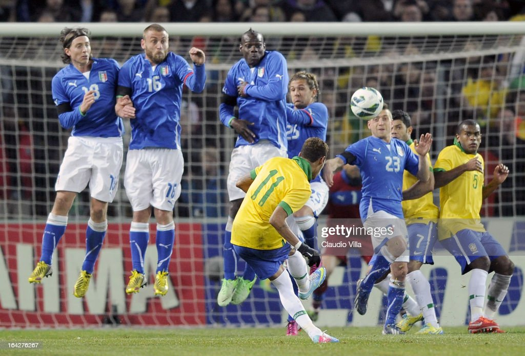 Neymar of Brazil #11 takes a free kick during the international friendly match between Italy and Brazil on March 21, 2013 in Geneva, Switzerland.
