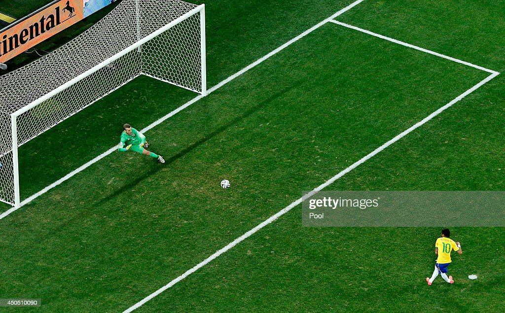 Neymar of Brazil takes a penalty kick against Stipe Pletikosa of Croatia during the 2014 FIFA World Cup Brazil Group A match between Brazil and...