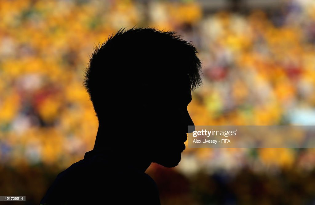 Neymar of Brazil warms up during the 2014 FIFA World Cup Brazil Quarter Final match between Brazil and Colombia at Estadio Castelao on July 4, 2014 in Fortaleza, Brazil.