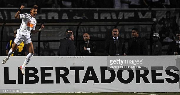 Neymar of Brazilian Santos celebrates after scoring against Uruguay's Penarol during their Libertadores Cup second leg final match at Pacaembu...