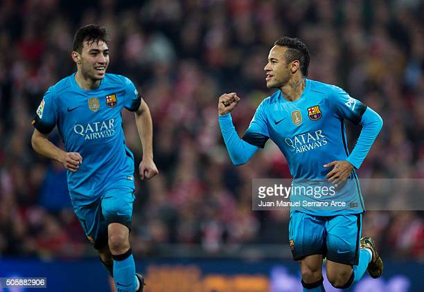 Neymar of FC Barcelola celebrates after scoring his team's second goal during the Copa del Rey Quarter Final First Leg match between Athletic Club...