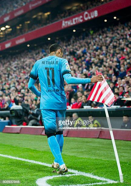 Neymar of FC Barcelola reacts during the Copa del Rey Quarter Final First Leg match between Athletic Club and FC Barcelola at San Mames Stadium on...