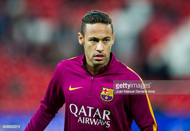 Neymar of FC Barcelola reacts on prior to the start the Copa del Rey Quarter Final First Leg match between Athletic Club and FC Barcelola at San...