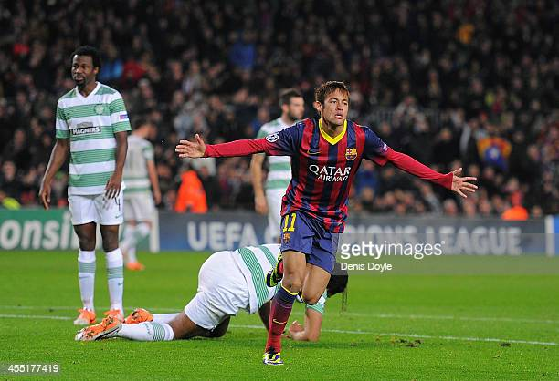 Neymar of FC Barcelona celebrates after scoring his team's 4th goal during the UEFA Champions League Group H match between FC Barcelona and Celtic FC...
