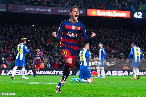 Neymar of FC Barcelona celebrates after scoring his team's fourth goal during the Copa del Rey Round of 16 first leg match between FC Barcelona and...