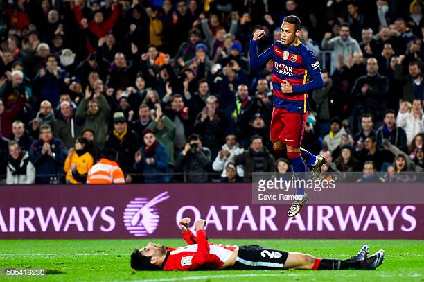 Neymar of FC Barcelona celebrates after scoring his team's second goal past Eneko Boveda of Athletic Club the La Liga match between FC Barcelona and...