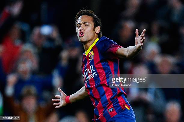 Neymar of FC Barcelona celebrates after scoring his team's sixth goal during the La Liga match between FC Barcelona and Rayo Vallecano de Madrid at...