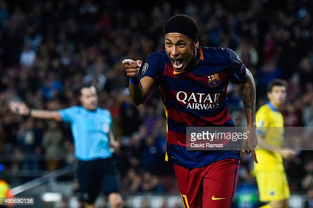 Neymar of FC Barcelona celebrates after scoring his team's third goal during the UEFA Champions League Group E match between FC Barcelona and FC BATE...