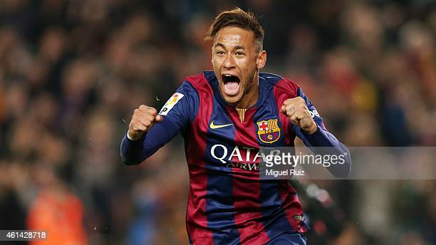 Neymar of FC Barcelona celebrates scoring during the La Liga match between FC Barcelona and Atletico Madrid at Camp Nou on January 11 2015 in...
