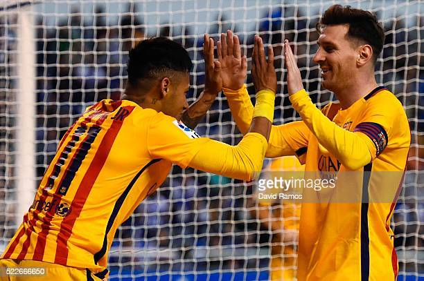 Neymar of FC Barcelona celebrates with his team mate Lionel Messi of FC Barcelona after scoring his team's eighth goal during the La Liga match...