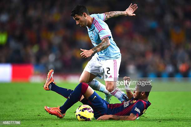 Neymar of FC Barcelona competes for the ball with Hugo Mallo of Celta de Vigo the La Liga match between FC Barcelona and Celta de Vigo at Camp Nou on...